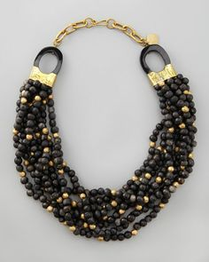 Mpira Dogo Multi-Strand Necklace, Dark Horn by Ashley Pittman at Neiman Marcus.