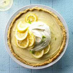 The best thing about this no-bake dessert? It can be made ahead and served straight from the fridge. Delight friends with a slice of light and lemony pie-a refreshing finish to a hot summer night.