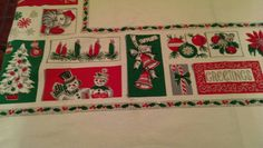 Vintage Mid Century Christmas Table Cloth by WhereTheRoosterCrows
