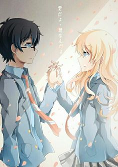 Shigatsu wa Kimi no Uso (Your Lie in April) Kaori Miyazono and Arima Kousei. I'm up to episode 8 and im in love