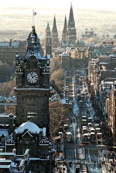 Prince Street, Edinburgh, Scotland (Look at all those steeples! and if you look closely Edinburgh has it's own ferris wheel! like London) Places Around The World, Oh The Places You'll Go, Places To Travel, Travel Destinations, Places To Visit, Around The Worlds, Travel Stuff, Famous Castles, Scotland Travel