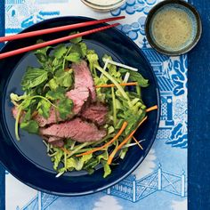 "For a pretty blend of colors as well as flavors, Sang Yoon lays slices of cumin-spiced lamb on a bed of jicama, carrot and lettuce. ""Lamb seasoned with. Lamb Recipes, Wine Recipes, Cooking Recipes, Healthy Recipes, Delicious Recipes, Healthy Food, Healthy Eating, Yummy Food, Winter Salad Recipes"