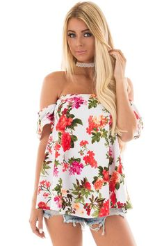 Lime Lush Boutique - White Off Shoulder Top with Floral Print, $34.99