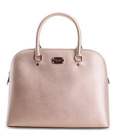Michael Kors Rose Gold Cindy Dome Leather Satchel | zulily