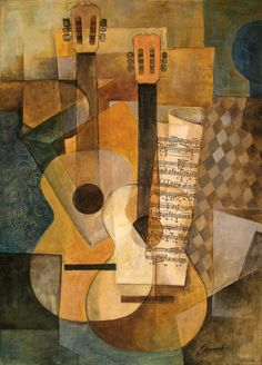 La guitarra – Original Cubist Painting by Emanuel Ologeanu Picasso and Braque Creating Cubism - In 1907 Pablo Picasso and Georges Braque shocked the art community with their abstract way of painting. I searched for this on /images Cubist Paintings, Cubist Art, Indian Paintings, Oil Paintings, Landscape Paintings, Henri Matisse, Picasso And Braque, Cubist Movement, Guitar Art