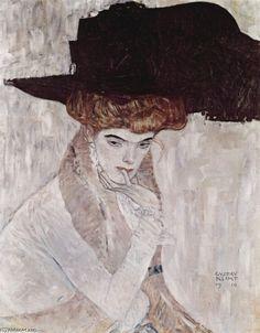 'Der schwarze Hut', Oil by Gustav Klimt (1862-1918, Austria)