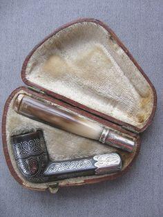 Antique English John Allday & Son silver inlaid opera estate pipe w case