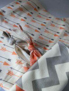Baby Blanket, Gift Set with Bibs, Mod Coral Arrows Print and Chevron, Organic Baby Bedding.