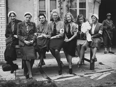 German nurses taken prisoner by the US Army in Cherbourg,France, July 9, 1944. The nurses were returned to German lines as part of the effort to protect medical non-combatants.