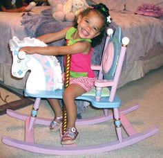 So special         Horse has satin mane and ears The padded backrest and seat cushion are removable. 'Gilded' carousel pole.        For toddler to age 3, up to 50 pounds.        Heirloom quality from Levels of Discovery.        Assembly required.        Dimensions:        35L x 15W x 27H