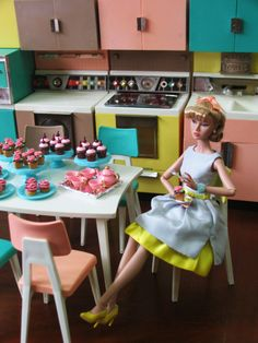 Poppy Parker in Barbie's kitchen