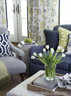 Indigo and Citron Fabric Collection - Living Room View 2