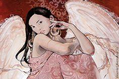 """Купить открытка """"невеста"""" - кремовый, телесный, светлый, Брюнетка, азиатка, этника, тай, птица, крылья"""