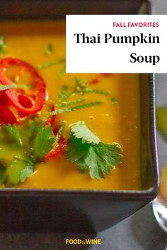 This Thai pumpkin soup incorporates white onion, garlic, lemongrass, Thai red curry paste, pumpkin puree, coconut milk, cilantro, fresno chile to create the ultimate fall recipe. Whether you're looking to eat this pumpkin recipe for a weeknight dinner or pack it up for a fall lunch the next day, it's a great choice for a fall recipe.#pumpkinrecipes #fallrecipes #souprecipes #stewrecipes #pumpkinsoup