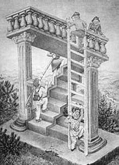Simple impossible stairs vs ladder Cool Optical Illusions, Art Optical, Hyperbolic Geometry, Impossible Shapes, Eye Tricks, Illusion Drawings, Klimt Art, Perspective Drawing, Mc Escher