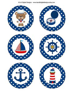 Boy Sailor Digital Cupcake toppers, DIY Boy Baby Shower Decorations, 3 inch cupcake toppers, P Baby Shower Cupcakes For Boy, Baby Shower Decorations For Boys, Baby Boy Shower, Baby Shower Parties, Baby Shower Themes, Cupcake Decorations, Shower Ideas, Sailor Baby Showers, Elephant Baby Showers
