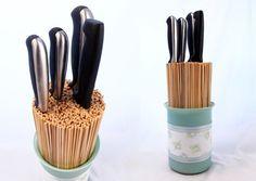 Cómo hacer un taco o soporte para cuchillos de cocina