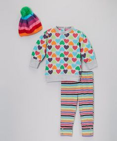 Another great find on #zulily! Gray Rainbow Stripe & Hearts Pants Set - Infant, Toddler & Girls #zulilyfinds