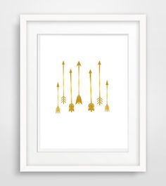 Faux gold arrow, wall art , tribal art