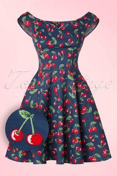 Bunny ~ 50s April Cherry Mini Dress in Midnight Blue