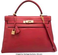 Hermes 32cm Rouge Vif Courchevel Leather Retourne Kelly Bag withGold Hardware. P Circle, 1986. Good to Very Good Conditio...