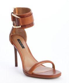 Rachel Zoe burnt siena croc embossed leather anklesteap 'Melina' heel sandals
