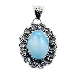 'Divine Beauty' Sterling Silver Natural Dominican Larimar Pendant  Price : $54.95 http://www.silverplazajewelry.com/Sterling-Silver-Natural-Dominican-Larimar/dp/B00KIRORO0