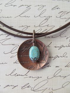 Etched Copper Necklace Handcrafted Artisan Jewelry by StudioOnekr, $32.00