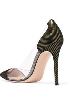 Heel measures approximately 100mm/ 4 inches Black and gold suede, clear PVC Slip on Made in Italy