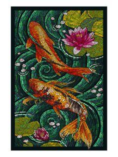 Koi - Paper Mosaic Print by Lantern Press at Art.com