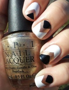 Chevron, black, white, gold nails