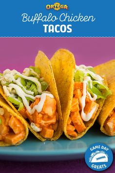 Combine two classic football foods–buffalo chicken and tacos–to get these super-simple and easy Buffalo Chicken Tacos. They are ideal for feeding a crowd on game day!  Step 1) Toss shredded rotisserie chicken in Ortega Hot Taco Sauce. Step 2) Stuff buffalo chicken mixture into Ortega Taco Shells. Step 3) Create a toppings bar with shredded lettuce, ranch dressing, and blue cheese so folks can make their own! Taco Games, Buffalo Chicken Tacos, Nibbles For Party, Taco Shells, Taco Sauce, Mexican Food Recipes, Ethnic Recipes, Feeding A Crowd, Football Food