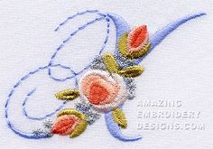 Amazing Embroidery Designs  Letter X with roses