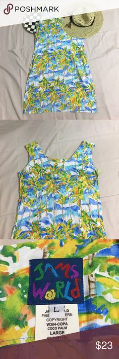Jams World dress. Summer dress. Tank dress. Jams World size Large summer dress in this great Hawaiian print.  Great for any holiday to the tropics.  Cool and perfect for your beach get away. OWL-0140 Jams World Dresses Maxi