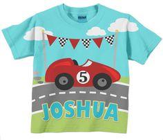 Boy's Race Car T-Shirt, Personalized Name, Birdhday Shirt. $26.95, via Etsy.