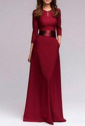 Graceful Round Collar 3/4 Sleeve Solid Color Maxi Dress For Women