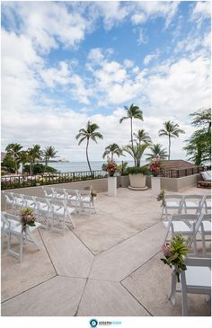 Hau Terrace Lanai with ceremony setup and floral by Paiko Hawaii