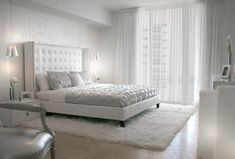Amazing All bright white luxury bedroom decor with white tufted bed and white furniture, modern style all white bedroom, the best bedroom decor