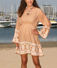 Look at this Ananda's Collection Light Brown Floral Empire-Waist Peasant Dress on #zulily today!
