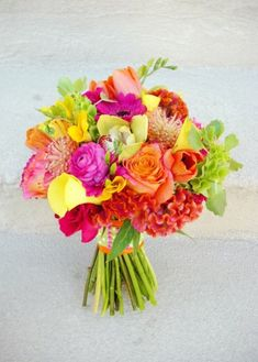 bouquet - bright color scheme, with less yellow and more purple