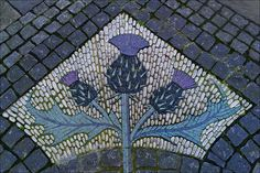 Mosaic next to the Scottish National Portrait Gallery, Queen Street, Edinburgh