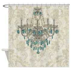 modern chandelier damask fashion paris art Shower on CafePress.com