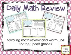 Daily Math Review- spiraling skill review and math warm ups for the upper grades- you control the difficulty because you choose the number kids work with each day.  Great practice! by Hello Learning $
