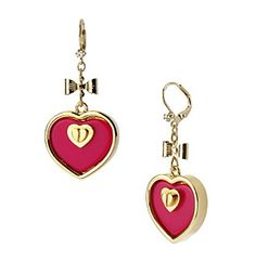 Betsey Johnson® Fuchsia & Gold Heart Drop Earrings