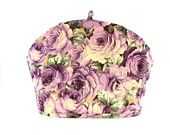 "Purple Roses Tea Cozy: ""FABRIC TEA COSY"" Dome shape, floral, all occasion tea time accessory, teapot warmer"