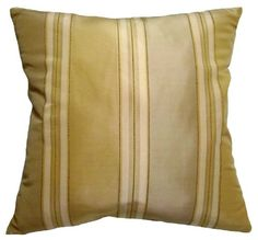 18x18 Dark Beige Gold and Light Asparagus Green Stripes Decorative Throw Pillow Cover *** This is an Amazon Affiliate link. Click image for more details.