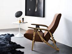 Fauteuil inclinable en cuir GILDA by Zanotta design Carlo Mollino