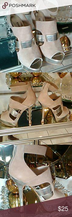 Bebe Tan Suede Heels Bebe Tan Suede And Tan Leather Heels. These Heels Has A Gold Bottom. bebe Shoes Heels