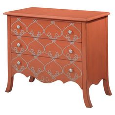 Bring a touch of heirloom appeal to your foyer, master suite, or den with this 3-drawer wood chest, showcasing scrolling details and a tangerine finish.