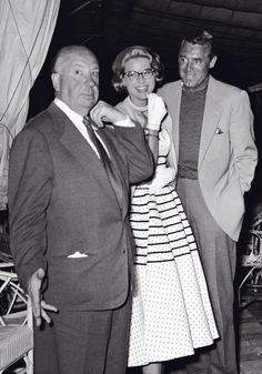 "Alfred Hitchcock, Grace Kelly, and Cary Grant on the set of ""To Catch a Thief"", (1955)"